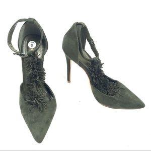 Shoe Republic LA 8 Fringe T Strap Point Toe Heels
